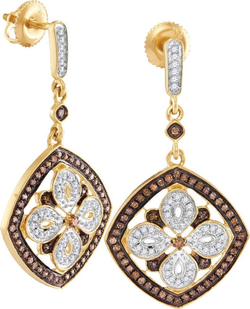Genuine 0.50 CTW White & Cognac Diamond Earrings 14KT
