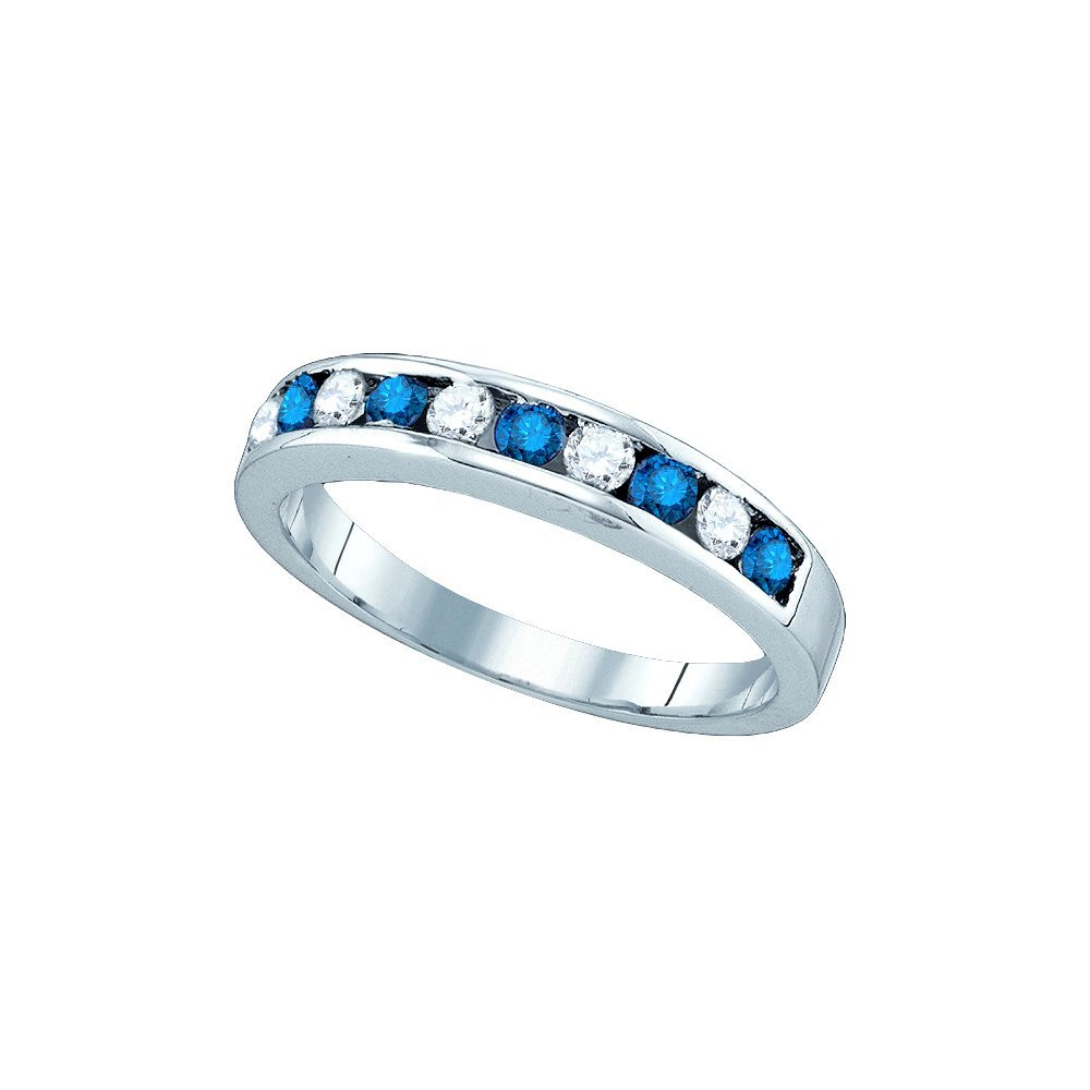 Genuine 0.50 CTW White & Blue Diamond Ladies Ring 10KT