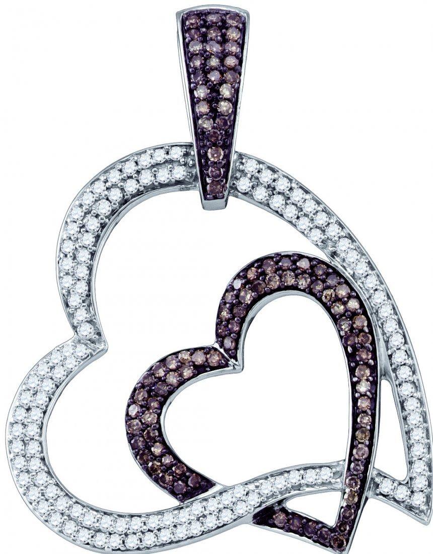 Genuine 1 CTW White & Cognac Diamond Pendant 10KT White