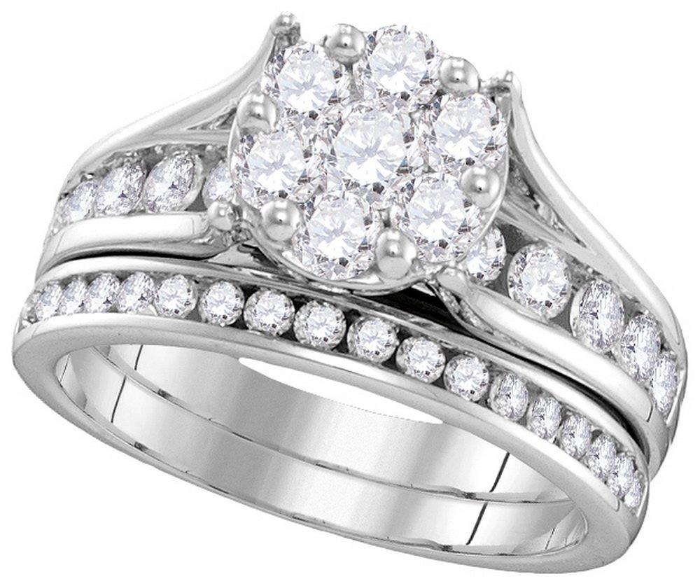 Natural 1.50 ctw Diamond Bridal Set Ring 14K White Gold