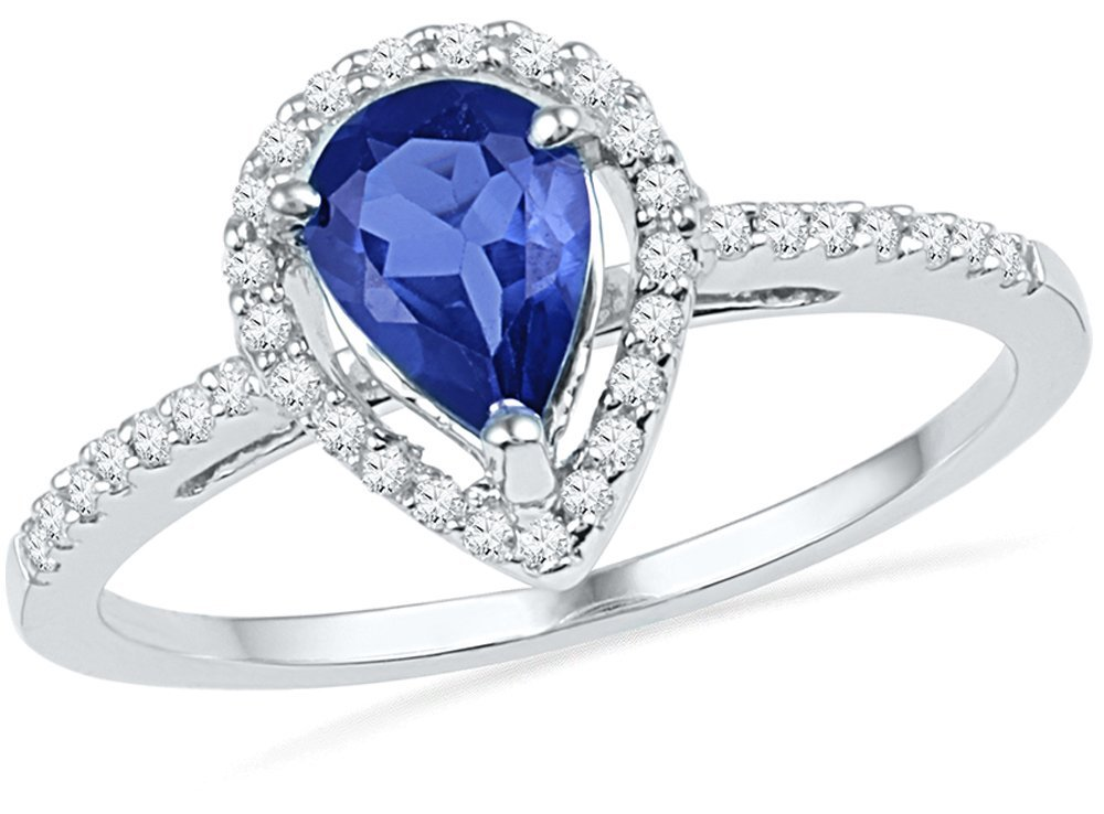 Genuine 1.05 CTW Sapphire & Diamond Ladies Ring 10KT