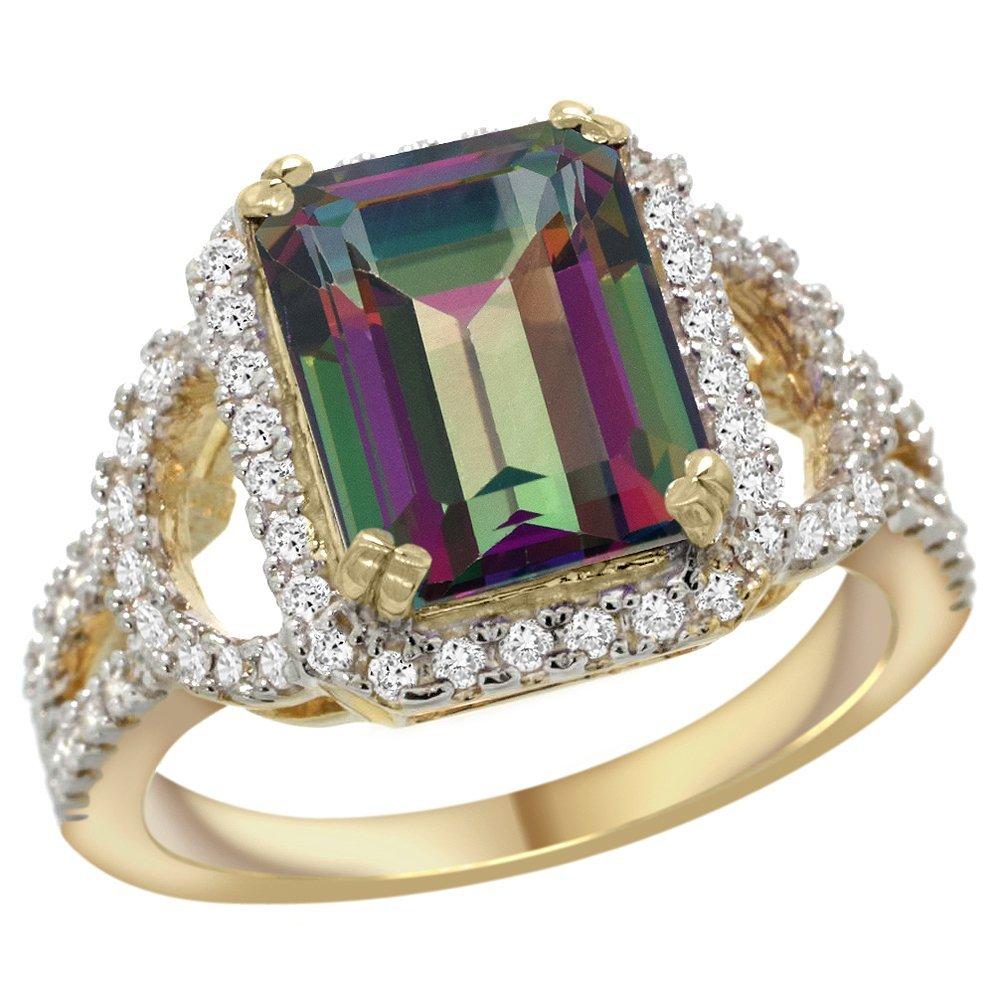Natural 3.08 ctw mystic-topaz & Diamond Engagement Ring
