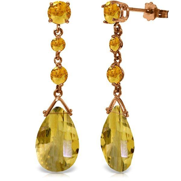 Genuine 13.2 ctw Citrine Earrings Jewelry 14KT Rose