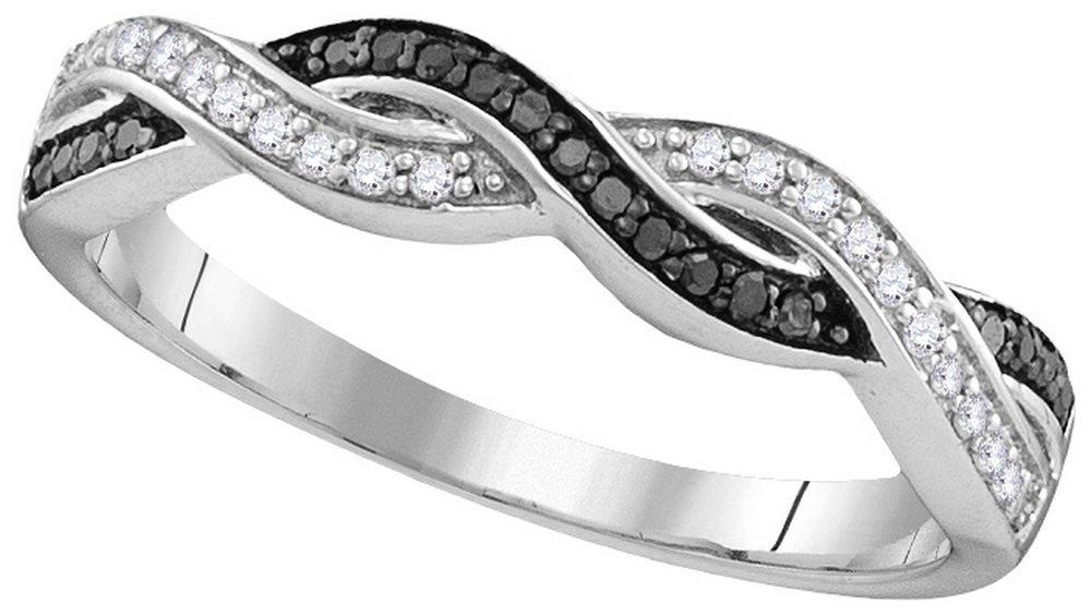 Genuine 0.15 CTW White & Black Diamond Ladies Ring