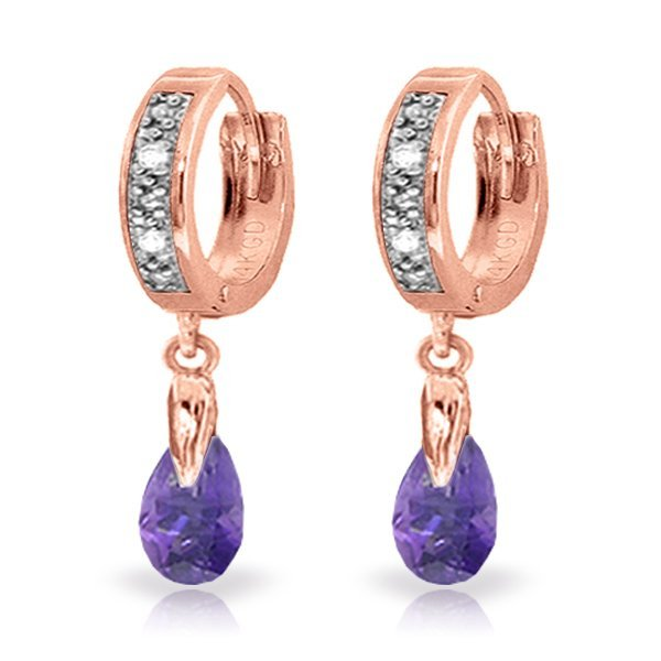 Genuine 1.37 ctw Amethyst & Diamond Earrings Jewelry