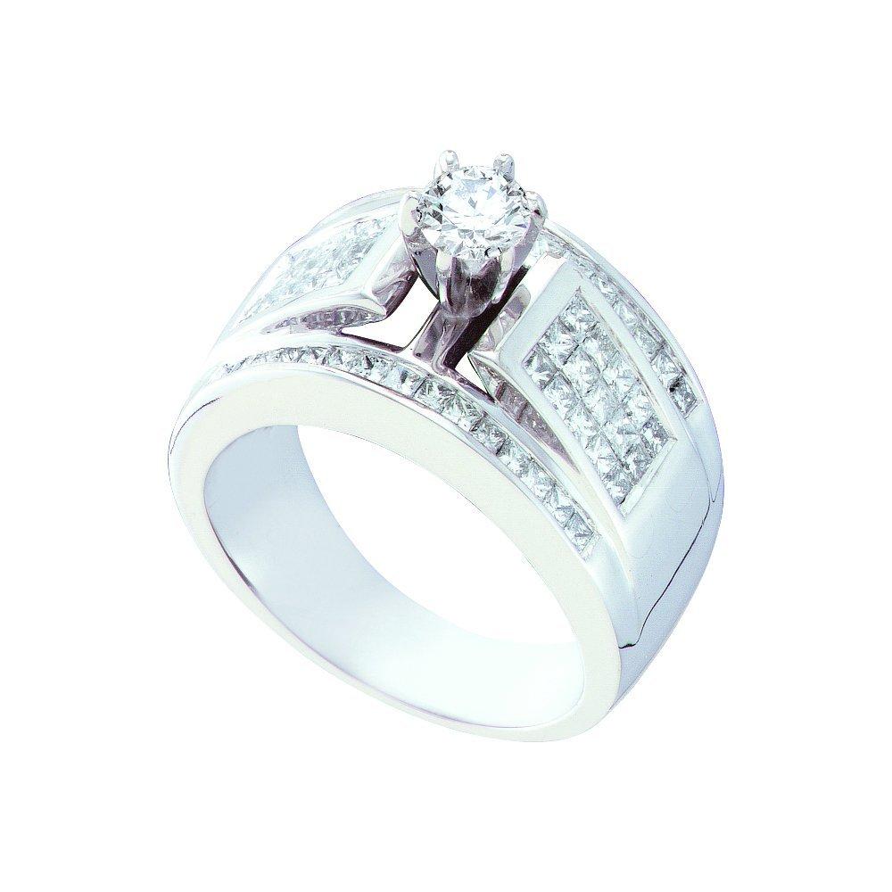 Natural 1.50 ctw Diamond Bridal Ring 14K White Gold -