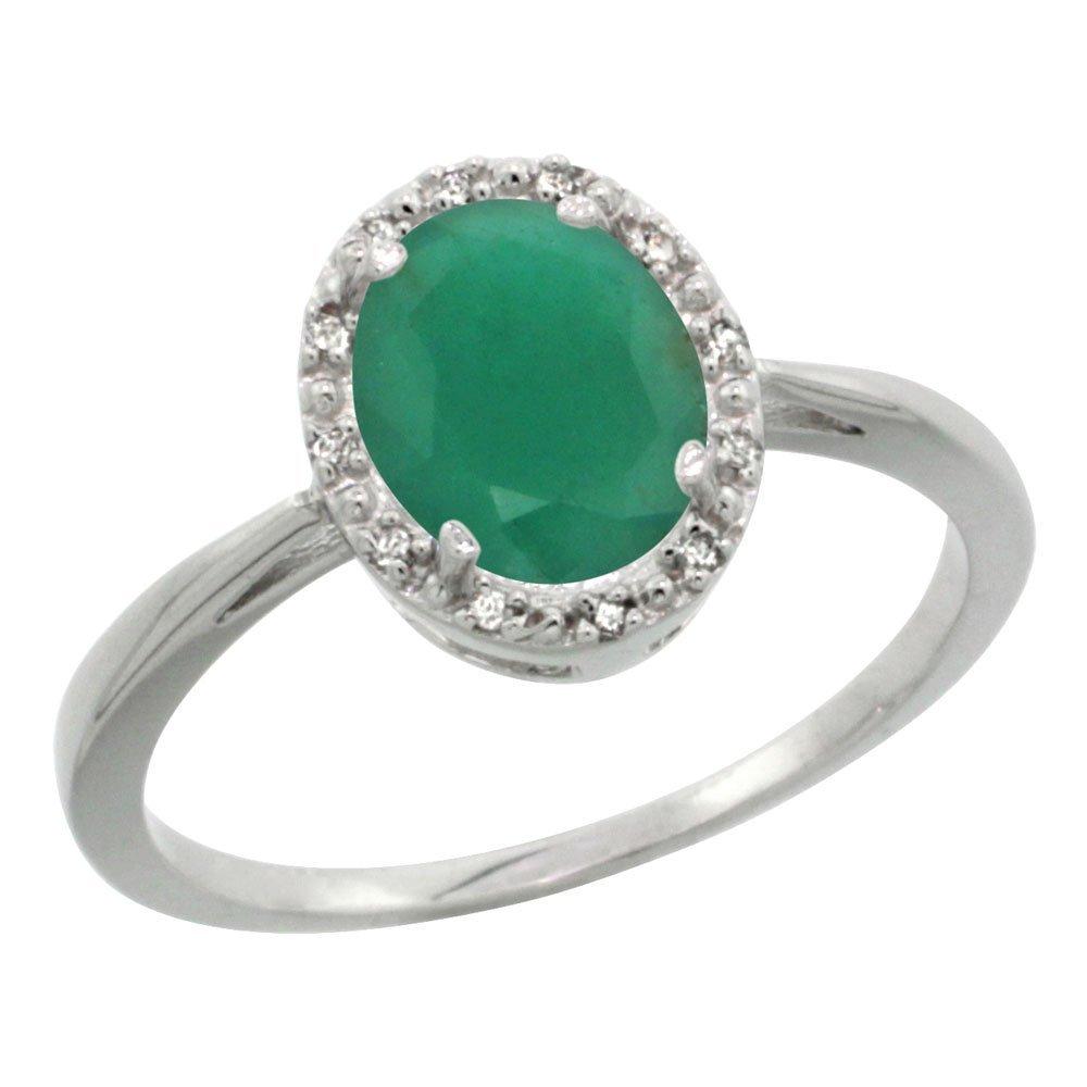 Natural 1.52 ctw Emerald & Diamond Engagement Ring 10K