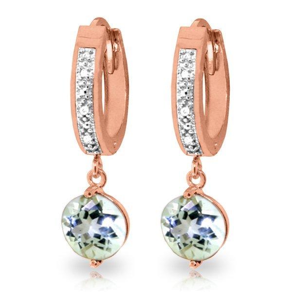 Genuine 2.28 ctw Aquamarine & Diamond Earrings Jewelry