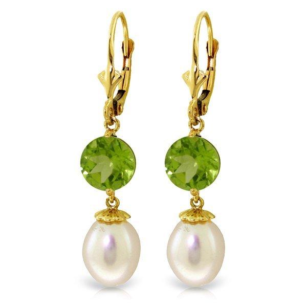 Genuine 11.10 ctw Pearl & Peridot Earrings Jewelry 14KT