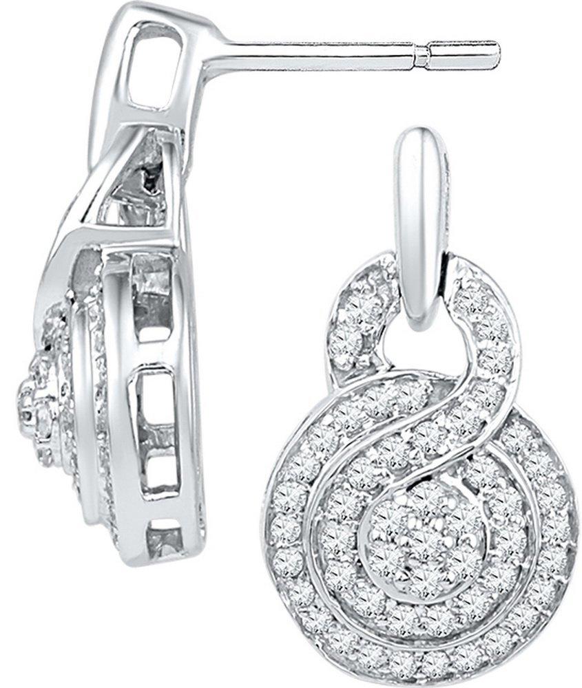 Genuine 0.50 CTW Diamond Earrings 10KT White Gold -