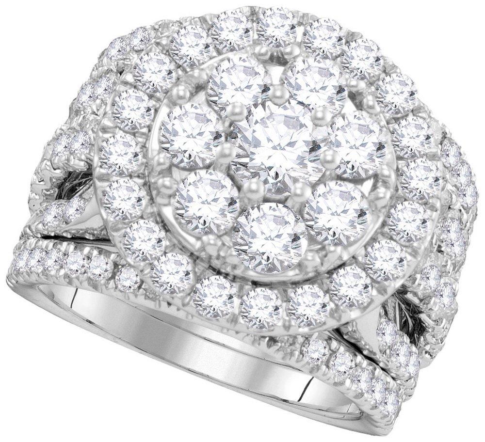 Genuine 4.0 CTW Diamond Bridal Set Ring 14KT White Gold