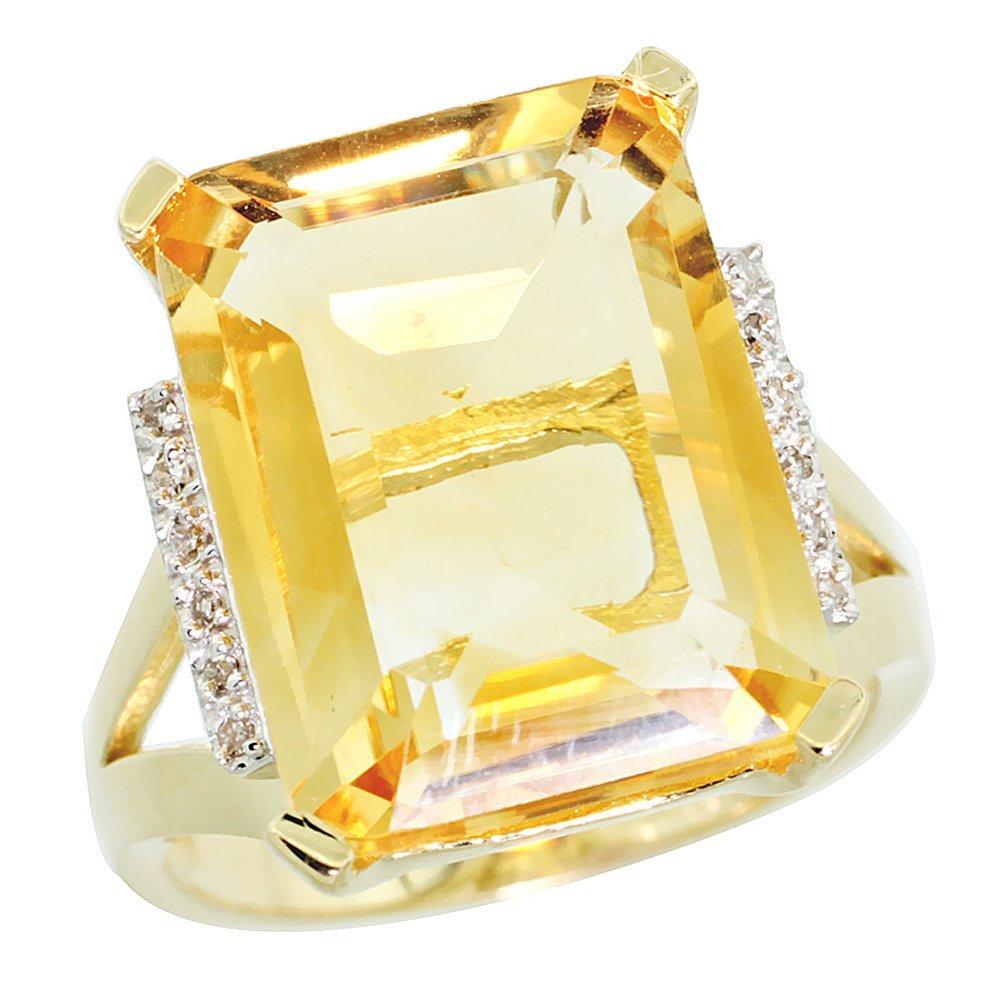 Natural 12.13 ctw Citrine & Diamond Engagement Ring 10K