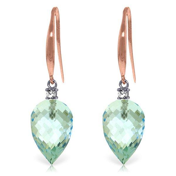 Genuine 22.6 ctw Blue Topaz & Diamond Earrings Jewelry