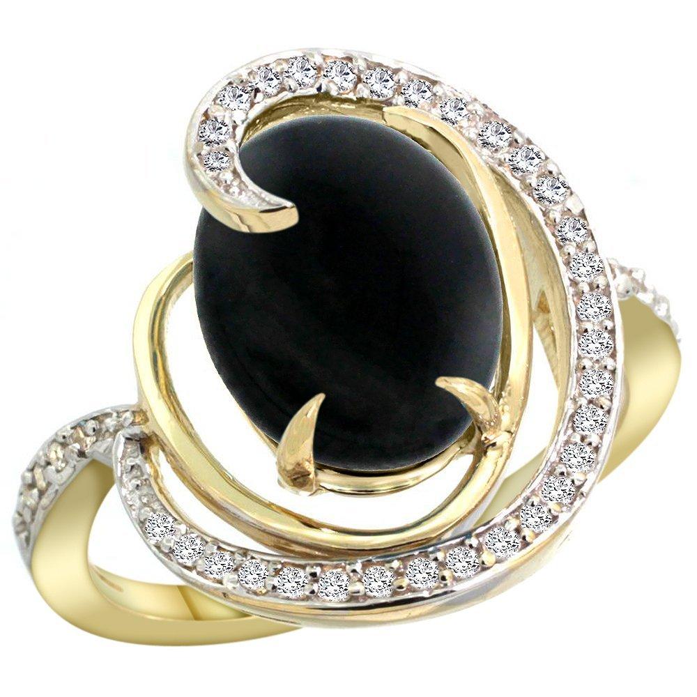 Natural 2.54 ctw onyx & Diamond Engagement Ring 14K