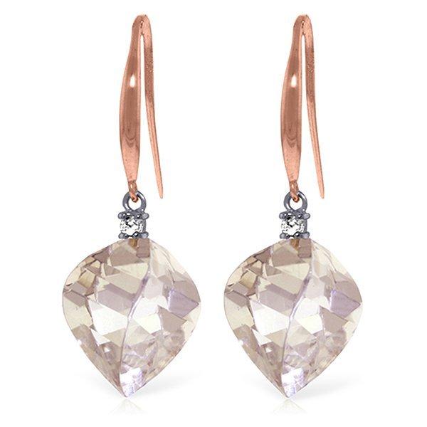 Genuine 25.7 ctw White Topaz & Diamond Earrings Jewelry