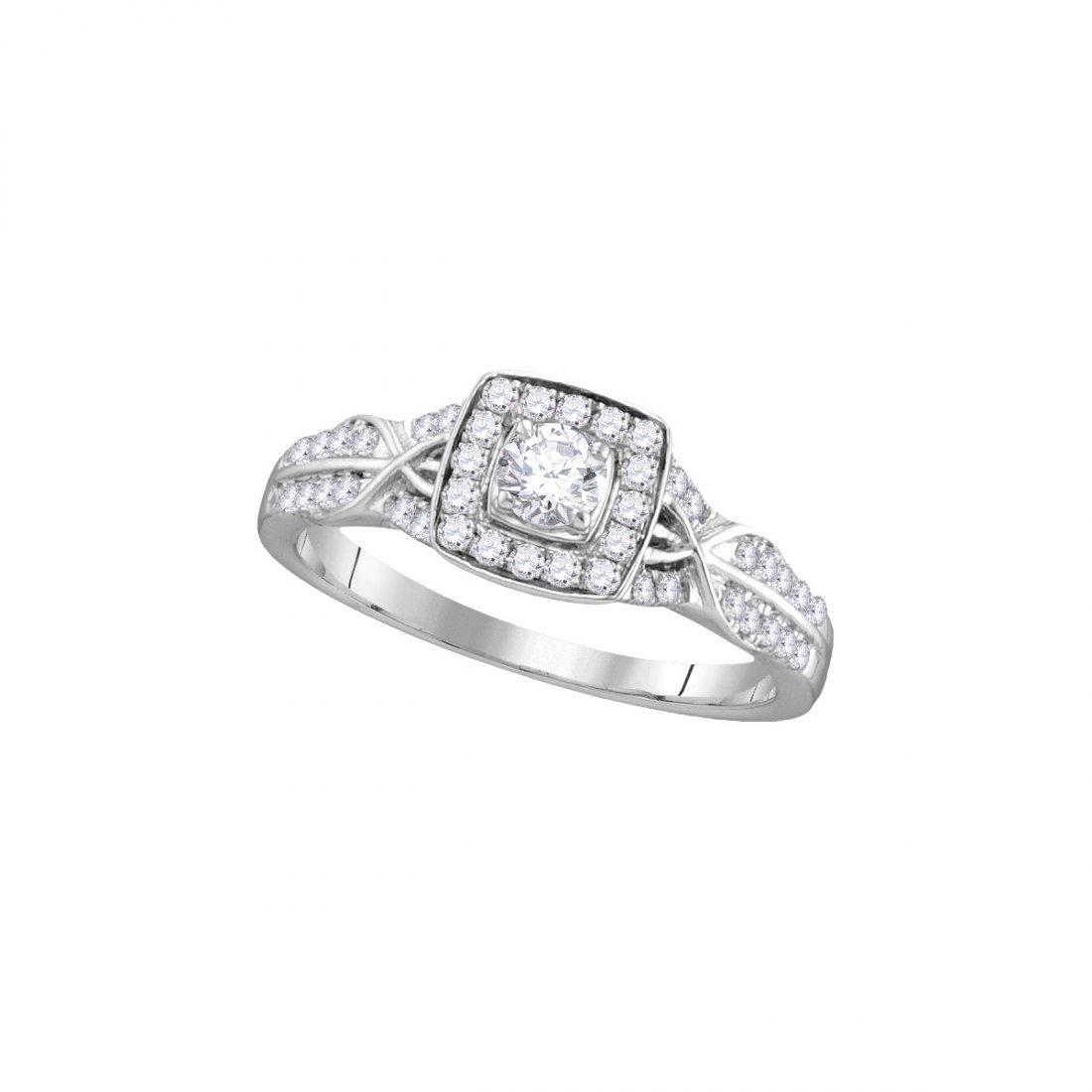 Genuine 0.50 CTW Diamond Bridal Ring 14KT White Gold -