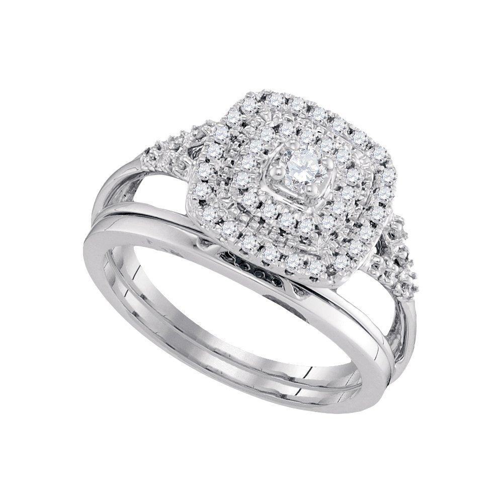 Natural 0.33 ctw Diamond Bridal Set Ring 10K White Gold