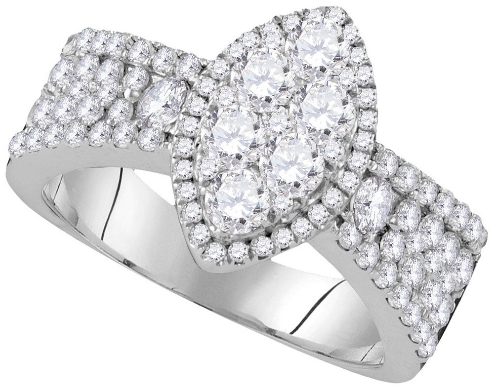 Genuine 1.62 CTW Diamond Ladies Ring 10KT White Gold -