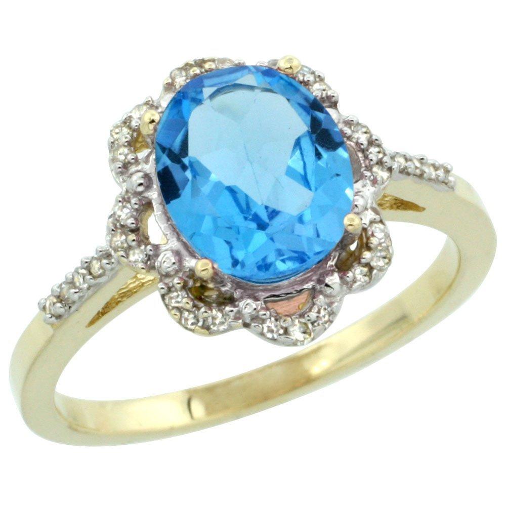 Natural 1.85 ctw Swiss-blue-topaz & Diamond Engagement