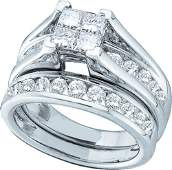 Natural 40 ctw Diamond Bridal Set Ring 14K White Gold