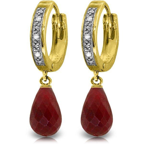 Genuine 6.64 ctw Ruby & Diamond Earrings Jewelry 14KT