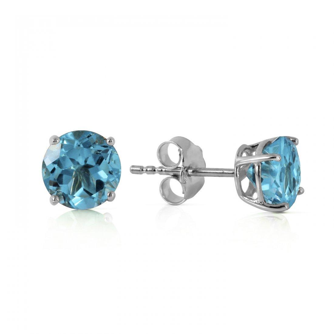 Genuine 0.95 ctw Blue Topaz Earrings Jewelry 14KT White