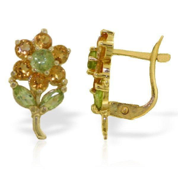 Genuine 2.12 ctw Peridot & Citrine Earrings Jewelry