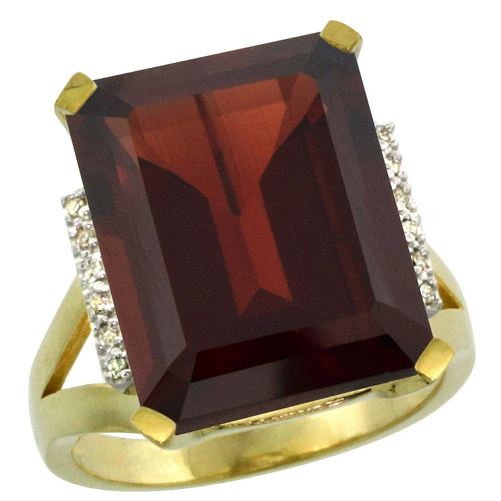 Natural 12.13 ctw Garnet & Diamond Engagement Ring 14K