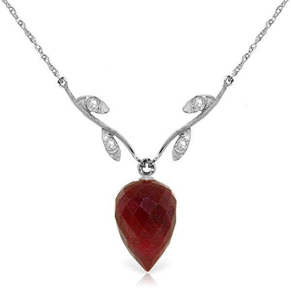 Genuine 13.02 ctw Ruby & Diamond Necklace Jewelry 14KT