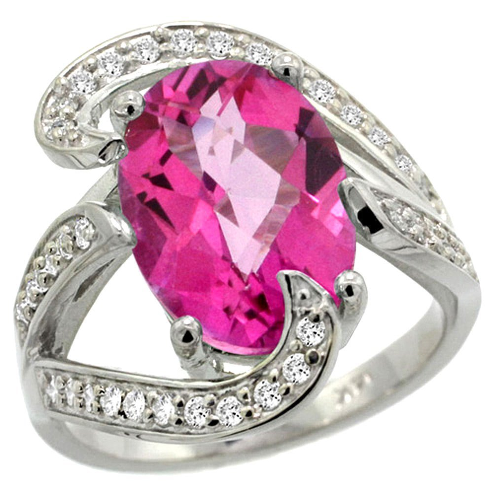Natural 6.22 ctw pink-topaz & Diamond Engagement Ring