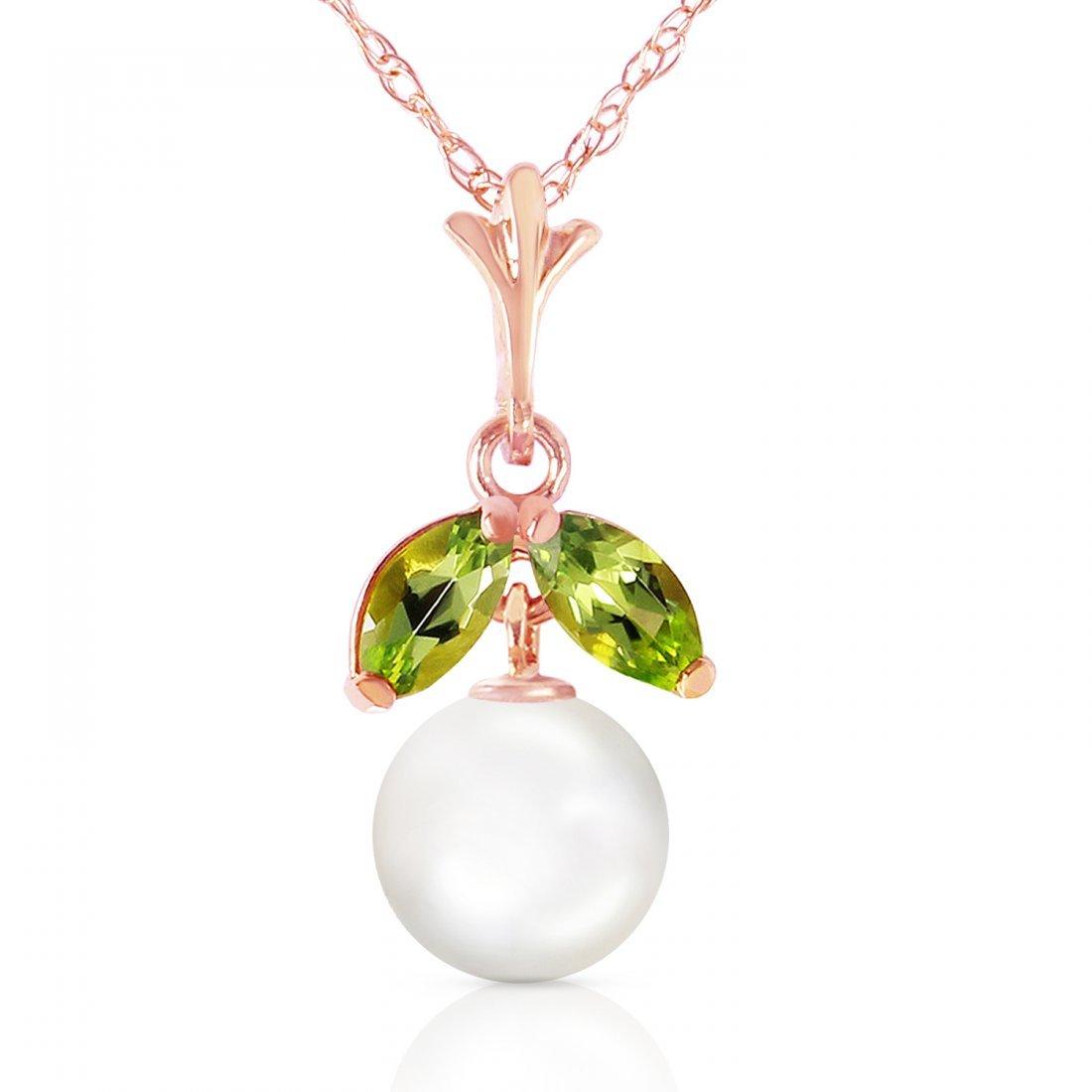 Genuine 2.2 ctw Pearl & Peridot Necklace Jewelry 14KT