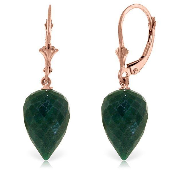 Genuine 25.7 ctw Green Sapphire Corundum Earrings
