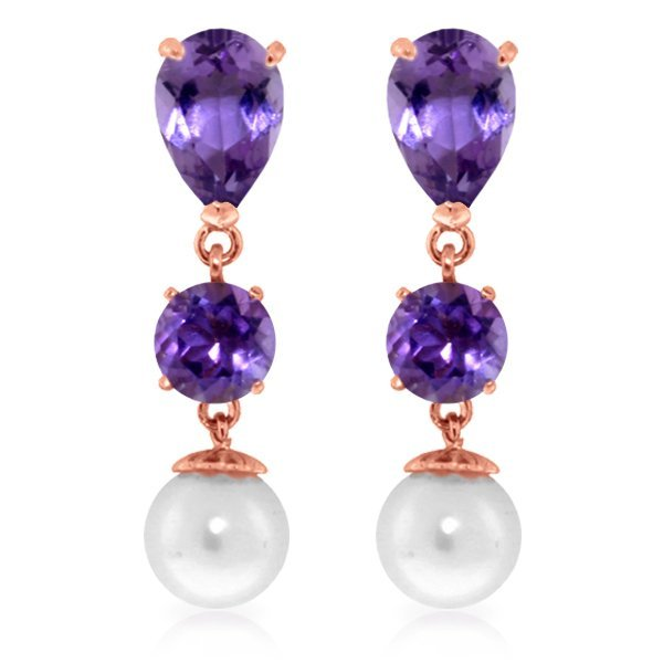 Genuine 10.50 ctw Amethyst & Pearl Earrings Jewelry