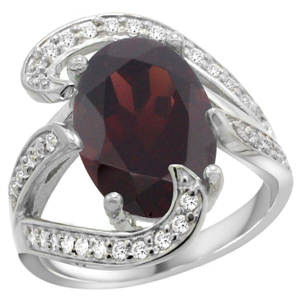Natural 7.24 ctw garnet & Diamond Engagement Ring 14K