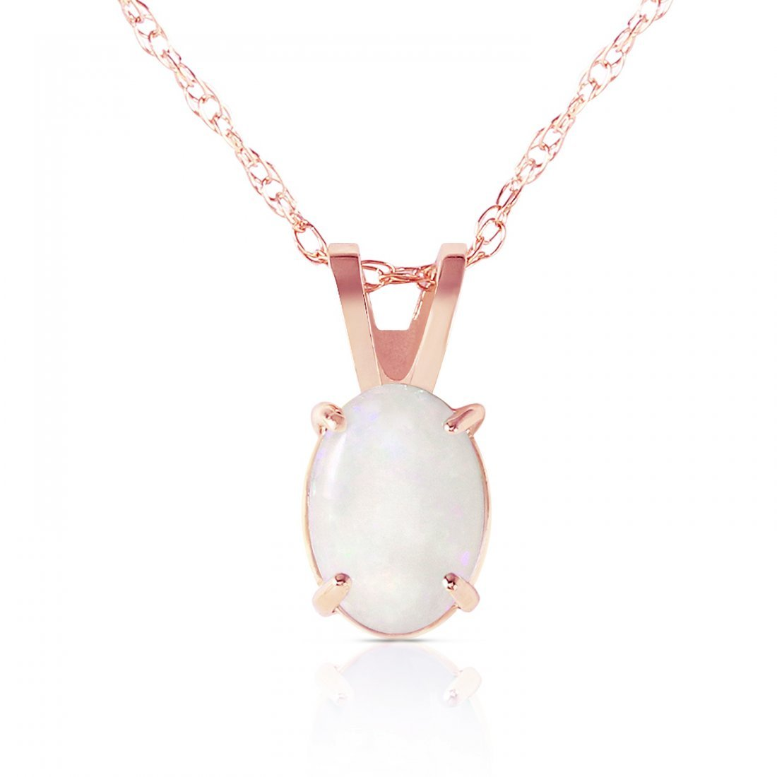 Genuine 0.45 ctw Opal Necklace Jewelry 14KT Rose Gold -