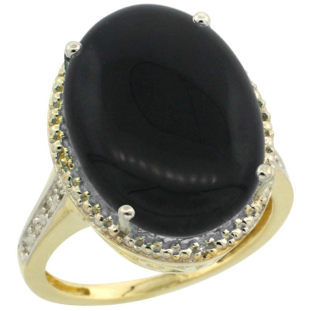 Natural 6.28 ctw Onyx & Diamond Engagement Ring 10K