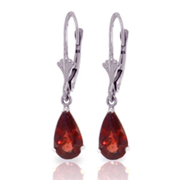 Genuine 2.45 ctw Garnet Earrings Jewelry 14KT White