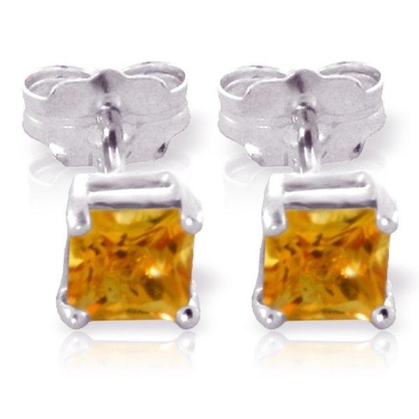 Genuine 0.70 ctw Citrine Earrings Jewelry 14KT White