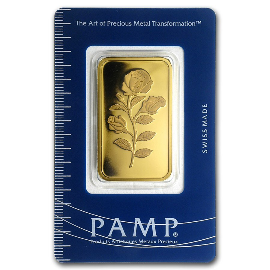 One pc. 1 oz .9999 Fine Gold Bar - PAMP Suisse Rosa In