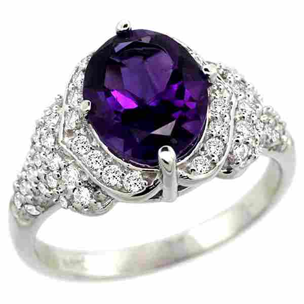 Natural 2.92 ctw amethyst & Diamond Engagement Ring 14K