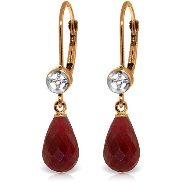 Genuine 6.63 ctw Ruby & Diamond Earrings Jewelry 14KT