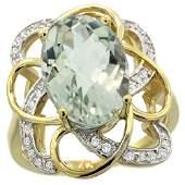 Natural 5.59 ctw green-amethyst & Diamond Engagement