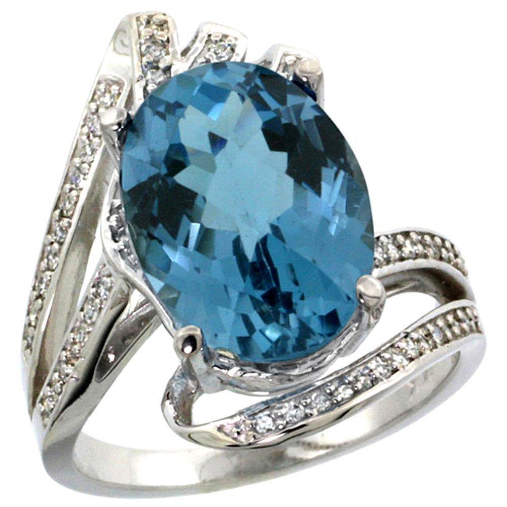 Natural 5.76 ctw london-blue-topaz & Diamond Engagement