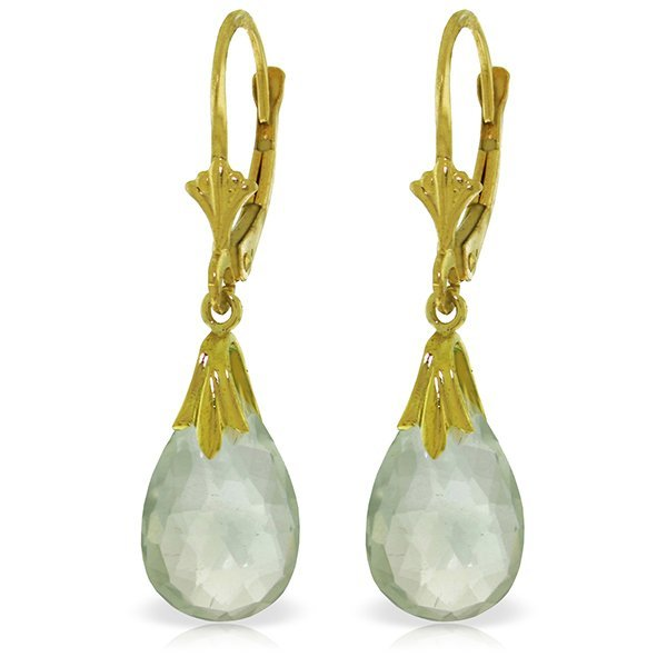 Genuine 6 ctw Green Amethyst Earrings Jewelry 14KT