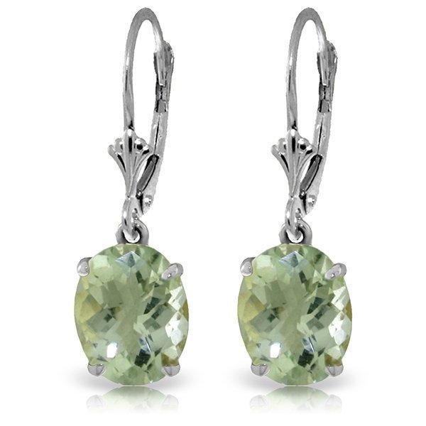 Genuine 6.25 ctw Green Amethyst Earrings Jewelry 14KT