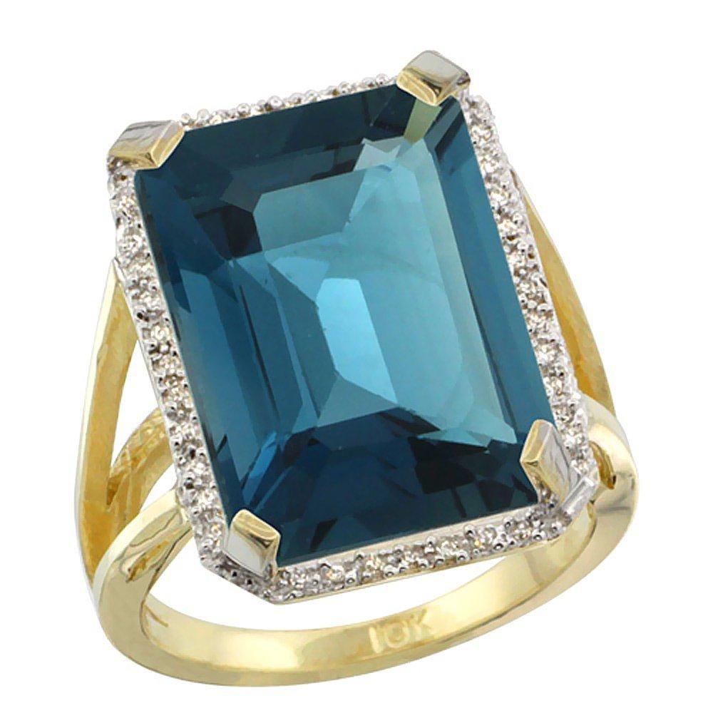 Natural 13.72 ctw London-blue-topaz & Diamond