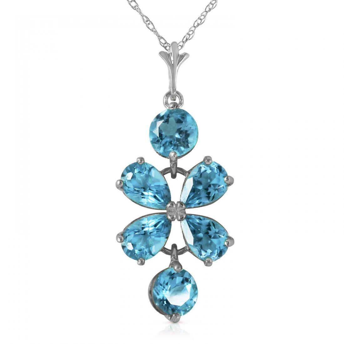 Genuine 3.15 ctw Blue Topaz Necklace Jewelry 14KT White