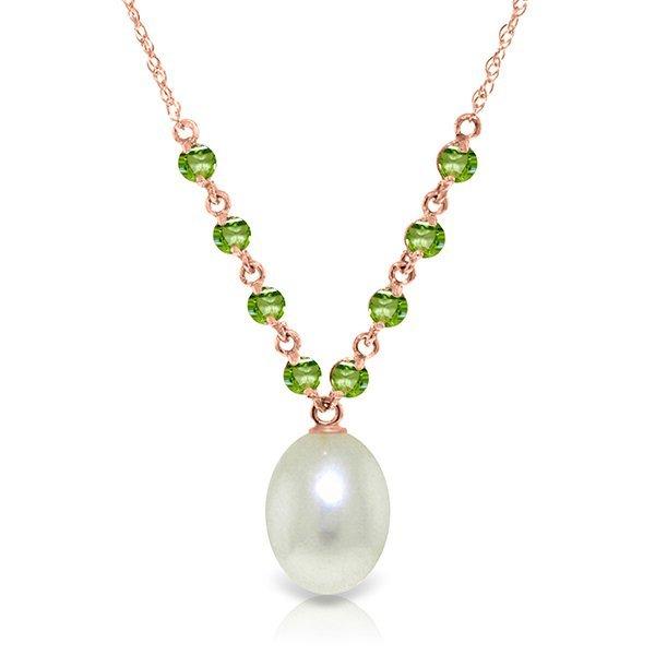 Genuine 5 ctw Pearl & Peridot Necklace Jewelry 14KT