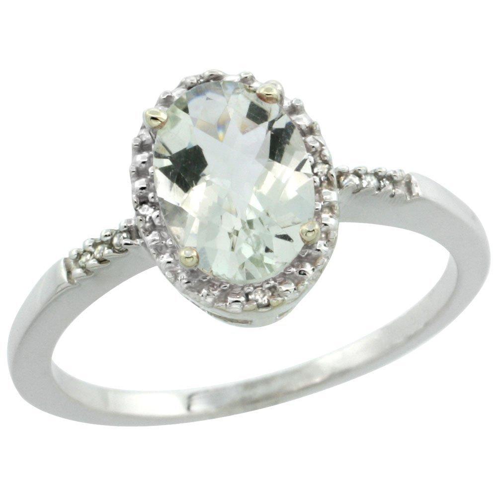 Natural 1.20 ctw Green-amethyst & Diamond Engagement