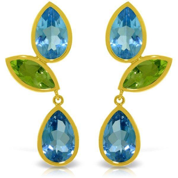 Genuine 13.6 ctw Blue Topaz & Peridot Earrings Jewelry